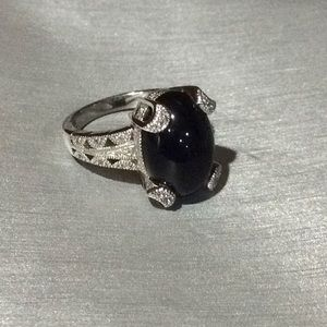 😍Tacori 925 Silver Black Onyx & CZ Ring😍